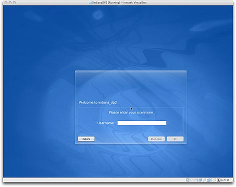 VirtualBox OpenSolaris Login