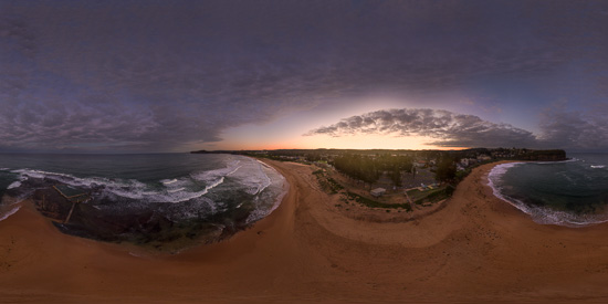 Mona Vale Beach at Sunset - 360˚ Panorama